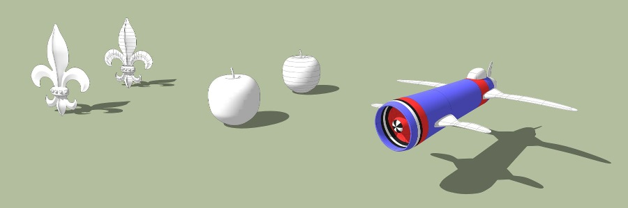SketchUp草图大师创建飞机、苹果、欧式构件
