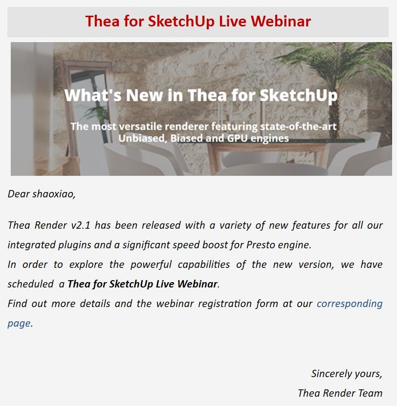 Thea for SketchUp Live网络研讨会